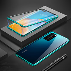 Luxury Aluminum Metal Frame Mirror Cover Case 360 Degrees T01 for Huawei P40 Green