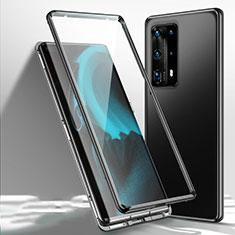 Luxury Aluminum Metal Frame Mirror Cover Case 360 Degrees T01 for Huawei P40 Pro+ Plus Black