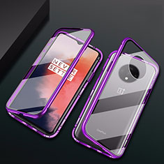 Luxury Aluminum Metal Frame Mirror Cover Case 360 Degrees T01 for OnePlus 7T Purple