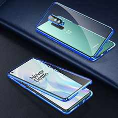 Luxury Aluminum Metal Frame Mirror Cover Case 360 Degrees T01 for OnePlus 8 Blue