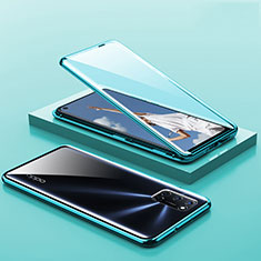Luxury Aluminum Metal Frame Mirror Cover Case 360 Degrees T01 for Oppo A92 Green