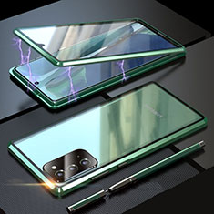 Luxury Aluminum Metal Frame Mirror Cover Case 360 Degrees T01 for Samsung Galaxy Note 20 5G Green