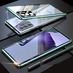 Luxury Aluminum Metal Frame Mirror Cover Case 360 Degrees T01 for Samsung Galaxy Note 20 Ultra 5G Green