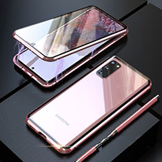 Luxury Aluminum Metal Frame Mirror Cover Case 360 Degrees T01 for Samsung Galaxy S20 Rose Gold