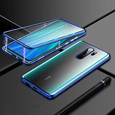 Luxury Aluminum Metal Frame Mirror Cover Case 360 Degrees T01 for Xiaomi Redmi Note 8 Pro Blue