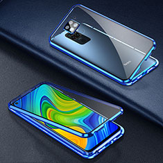 Luxury Aluminum Metal Frame Mirror Cover Case 360 Degrees T01 for Xiaomi Redmi Note 9 Blue