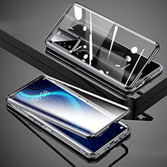 Luxury Aluminum Metal Frame Mirror Cover Case 360 Degrees T02 for Huawei Honor X10 5G Black