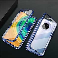 Luxury Aluminum Metal Frame Mirror Cover Case 360 Degrees T02 for Huawei Mate 30E Pro 5G Blue