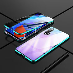Luxury Aluminum Metal Frame Mirror Cover Case 360 Degrees T02 for Huawei Nova 6 5G Cyan