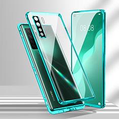 Luxury Aluminum Metal Frame Mirror Cover Case 360 Degrees T02 for Huawei Nova 7 SE 5G Cyan