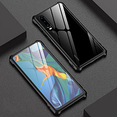 Luxury Aluminum Metal Frame Mirror Cover Case 360 Degrees T02 for Huawei P30 Black