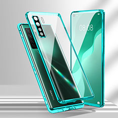 Luxury Aluminum Metal Frame Mirror Cover Case 360 Degrees T02 for Huawei P40 Lite 5G Cyan