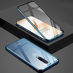 Luxury Aluminum Metal Frame Mirror Cover Case 360 Degrees T02 for OnePlus 8 Blue