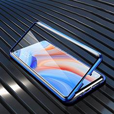 Luxury Aluminum Metal Frame Mirror Cover Case 360 Degrees T02 for Oppo Reno4 5G Blue