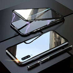Luxury Aluminum Metal Frame Mirror Cover Case 360 Degrees T02 for Samsung Galaxy A70 Black