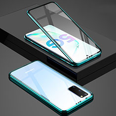 Luxury Aluminum Metal Frame Mirror Cover Case 360 Degrees T02 for Samsung Galaxy S20 Green