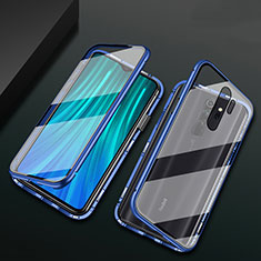 Luxury Aluminum Metal Frame Mirror Cover Case 360 Degrees T02 for Xiaomi Redmi Note 8 Pro Blue