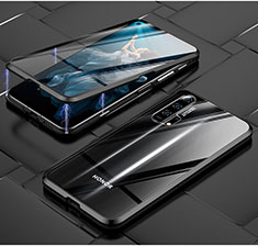 Luxury Aluminum Metal Frame Mirror Cover Case 360 Degrees T03 for Huawei Honor 20 Pro Black