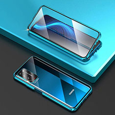 Luxury Aluminum Metal Frame Mirror Cover Case 360 Degrees T03 for Huawei Honor X10 5G Sky Blue