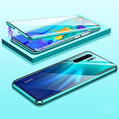 Luxury Aluminum Metal Frame Mirror Cover Case 360 Degrees T03 for Huawei P30 Pro New Edition Green