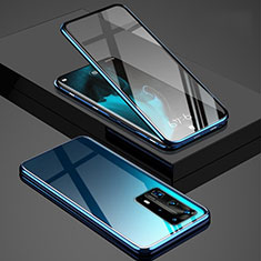 Luxury Aluminum Metal Frame Mirror Cover Case 360 Degrees T03 for Huawei P40 Pro+ Plus Blue