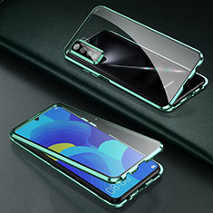 Luxury Aluminum Metal Frame Mirror Cover Case 360 Degrees T03 for Oppo Find X2 Lite Green