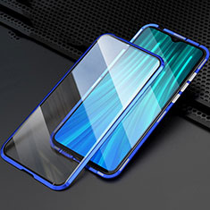 Luxury Aluminum Metal Frame Mirror Cover Case 360 Degrees T03 for Xiaomi Redmi Note 8 Pro Blue