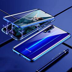 Luxury Aluminum Metal Frame Mirror Cover Case 360 Degrees T04 for Huawei Nova 5 Pro Blue