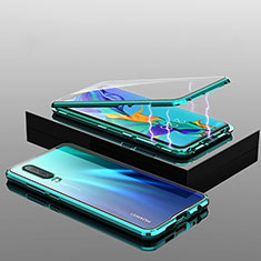Luxury Aluminum Metal Frame Mirror Cover Case 360 Degrees T04 for Huawei P30 Green