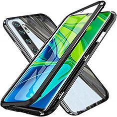 Luxury Aluminum Metal Frame Mirror Cover Case 360 Degrees T04 for Xiaomi Mi Note 10 Pro Black
