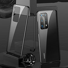 Luxury Aluminum Metal Frame Mirror Cover Case 360 Degrees T05 for Huawei P40 Pro+ Plus Black