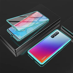 Luxury Aluminum Metal Frame Mirror Cover Case 360 Degrees T05 for Oppo Find X2 Neo Green