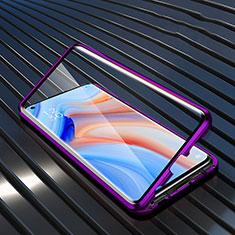 Luxury Aluminum Metal Frame Mirror Cover Case 360 Degrees T05 for Oppo Reno4 5G Purple