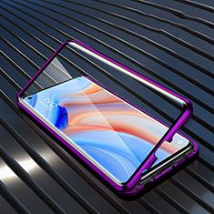 Luxury Aluminum Metal Frame Mirror Cover Case 360 Degrees T05 for Oppo Reno4 Pro 5G Purple