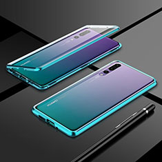 Luxury Aluminum Metal Frame Mirror Cover Case 360 Degrees T06 for Huawei P20 Pro Green