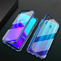Luxury Aluminum Metal Frame Mirror Cover Case 360 Degrees T06 for Huawei P30 Lite XL Blue