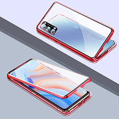 Luxury Aluminum Metal Frame Mirror Cover Case 360 Degrees T06 for Oppo Reno4 5G Red