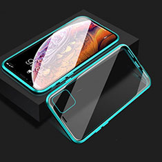 Luxury Aluminum Metal Frame Mirror Cover Case 360 Degrees T08 for Apple iPhone 11 Cyan