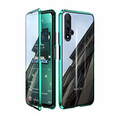 Luxury Aluminum Metal Frame Mirror Cover Case 360 Degrees T08 for Huawei Honor 20 Green