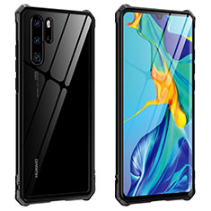 Luxury Aluminum Metal Frame Mirror Cover Case 360 Degrees T08 for Huawei P30 Pro New Edition Black