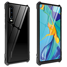 Luxury Aluminum Metal Frame Mirror Cover Case 360 Degrees T09 for Huawei P30 Black