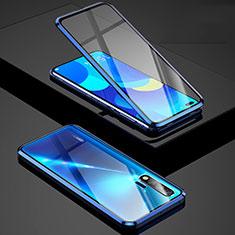 Luxury Aluminum Metal Frame Mirror Cover Case 360 Degrees Z01 for Huawei Nova 6 5G Blue