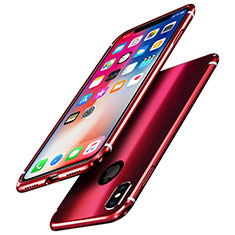 Luxury Aluminum Metal Frame Mirror Cover Case A01 for Apple iPhone Xs Red