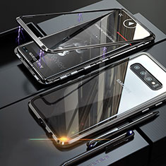 Luxury Aluminum Metal Frame Mirror Cover Case A01 for Samsung Galaxy S10 Plus Black