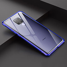 Luxury Aluminum Metal Frame Mirror Cover Case for Huawei Mate 20 X 5G Blue