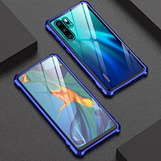 Luxury Aluminum Metal Frame Mirror Cover Case for Huawei P30 Pro Blue