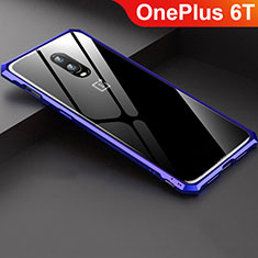 Luxury Aluminum Metal Frame Mirror Cover Case for OnePlus 6T Blue