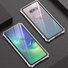 Luxury Aluminum Metal Frame Mirror Cover Case for Samsung Galaxy S10e Silver