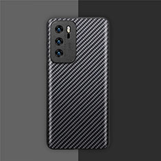Luxury Carbon Fiber Twill Soft Case Cover for Huawei P40 Black