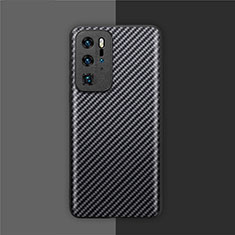 Luxury Carbon Fiber Twill Soft Case Cover for Huawei P40 Pro Black